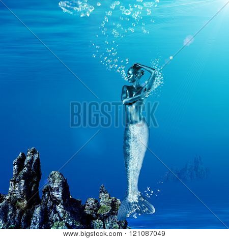 Mysterious mermaid with glossy skin underwater