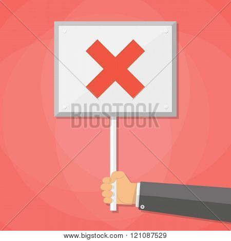 Cartoon Businessman hand hold sign with cross. negative checkmark in center. wrong choice concept, v