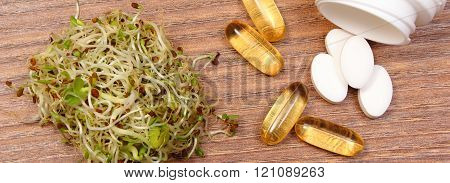 Alfalfa and radish sprouts with tablets supplements, healthy nutrition