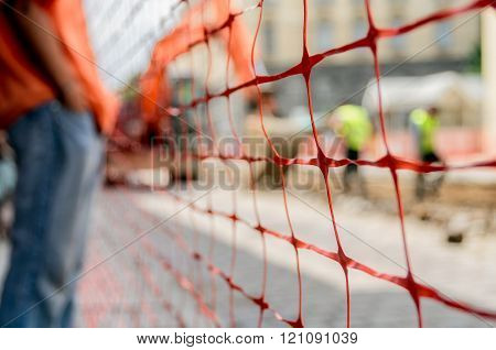 Orange construction fence
