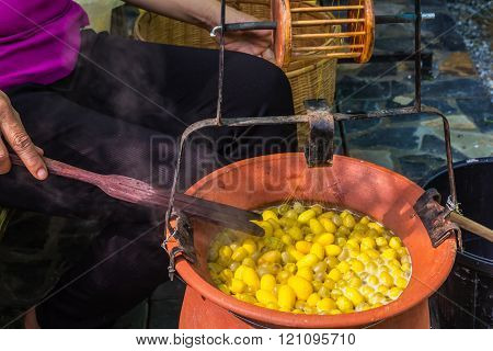 Close up shot Boiled cocoons bowl A part of Silk Production Process Selective focus on cocoons