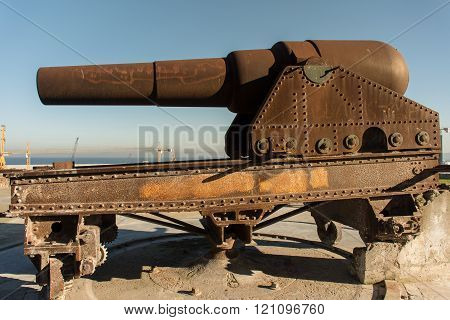 British guns on the walls of the fortress tangeri
