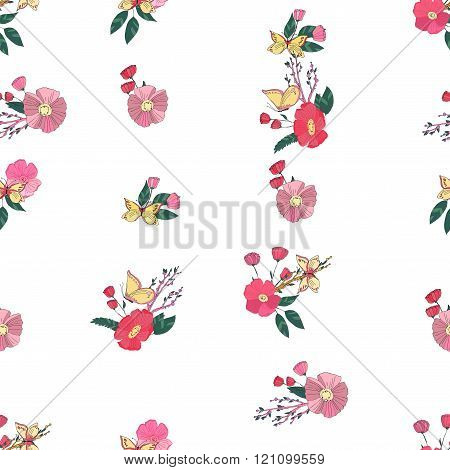 Floral Seamless Vintage Wildflowers Pattern