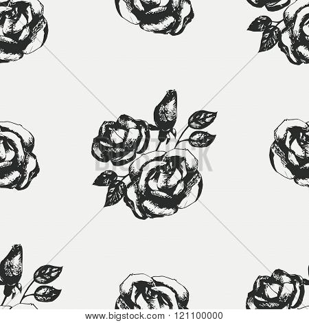 Vintage black and white rose pattern