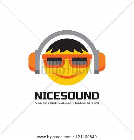 Nice sound - vector logo concept illustration in flat style design. Audio mp3 logo. Music logo.