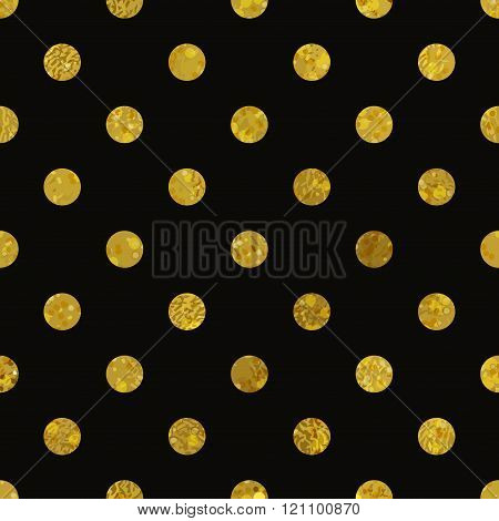 Black and gold  pattern. Abstract polka dot background.