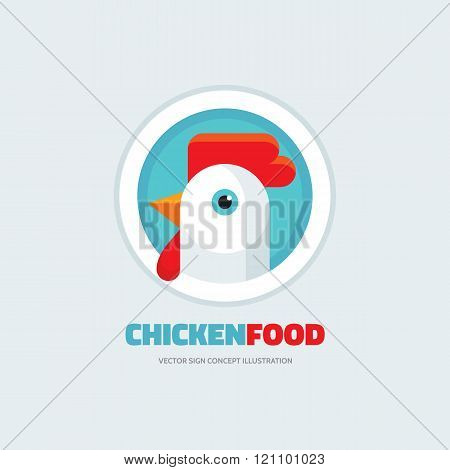 Chicken food - rooster vector logo concept illustration in flat style design. Bird cock.