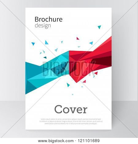 Brochure, poster, flyer, cover template. Abstract background blue and red triangles. stock-vector 10 EPS