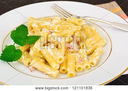 Pasta with Carbonara Sauce. Italian Cuisine