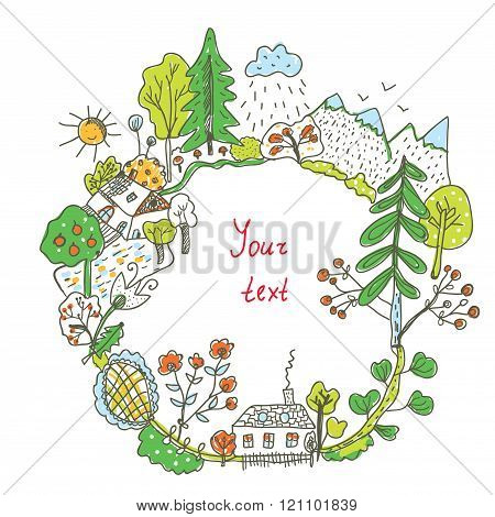 Nature Doodle Frame With Trees, Flowers, Village - Illustration