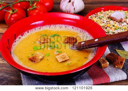 Healthy and Diet Food: Soup with Lentils, Celery.