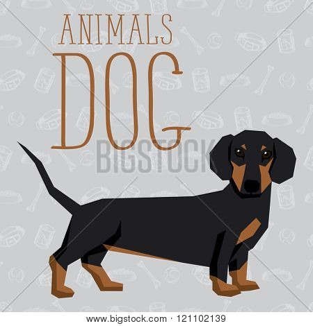 Vector geometric dogs collection with seamless background. Dachshund