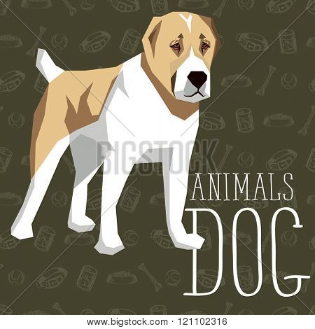 Vector geometric dogs collection with seamless background. Central Asian Shepherd Dog