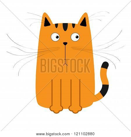 Cute Red Orange And Black Cartoon Cat. Big Mustache Whisker. Funny Character. Flat Design. White Bac
