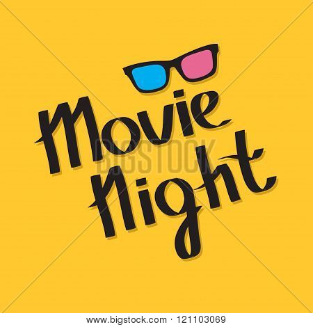 3D Glasses. Movie Night Text. Lettering. Yellow Background. Flat Design.