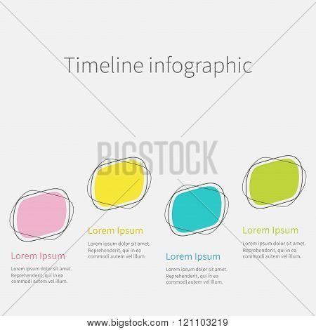 Infographic. Timeline. Four Step Template. Flat Design.