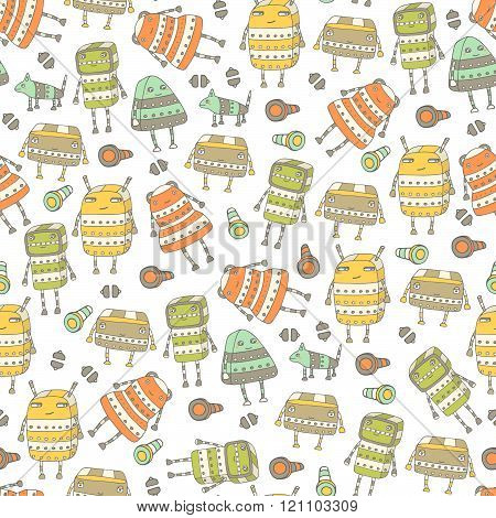 Cute hand drawn doodle seamless pattern with steampunk robots