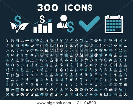 300 Flat Glyph Business Icon Collection