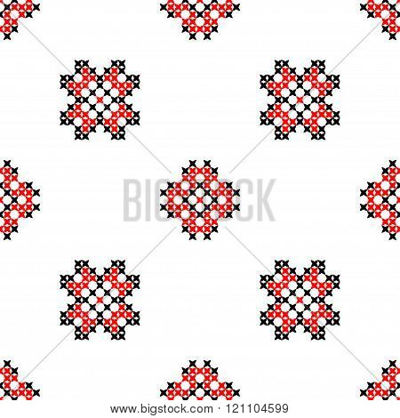 Seamless texture with black and red ornaments. Embroidery
