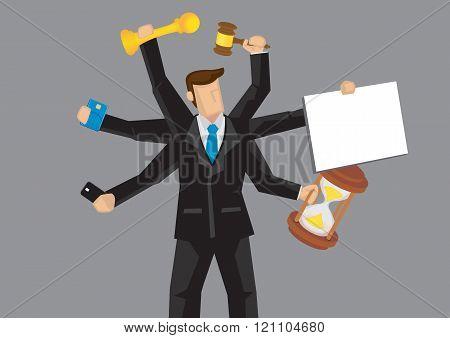 Multitasking Businessman Vector Cartoon Character Illustration