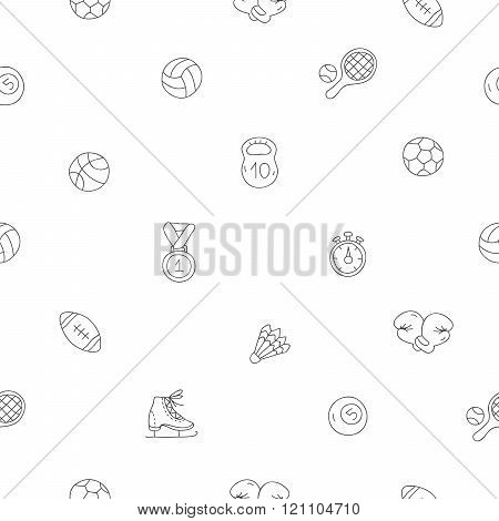 Seamless Pattern Of Sports Icons