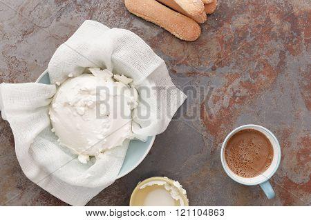 Preparing tiramisu dessert