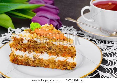 Baking Carrot Cake with Walnuts