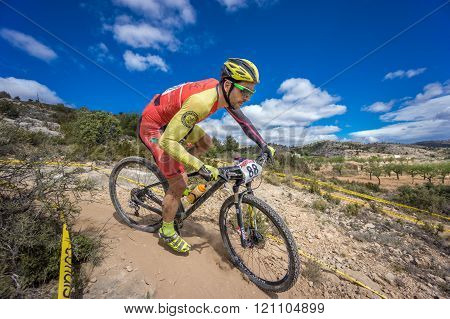 VALENCIA - MARCH 6: Jose Luis Ruiz Dorado rider participates in international Chelva MTB-XCO competi