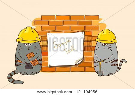Two cartoon cats builders at the brick wall.