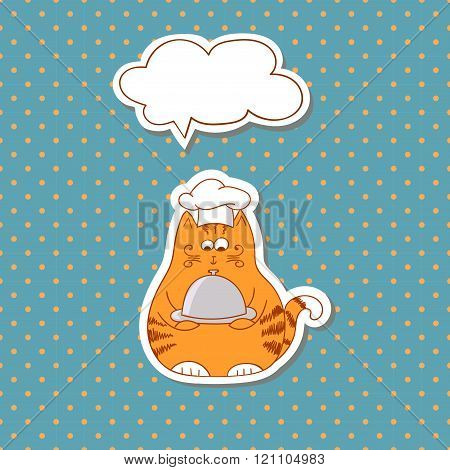 Cartoon cat cook with bubble speech on dots background.