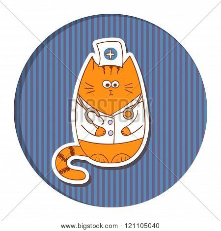 Funny cartoon doctor cat on stripped background.