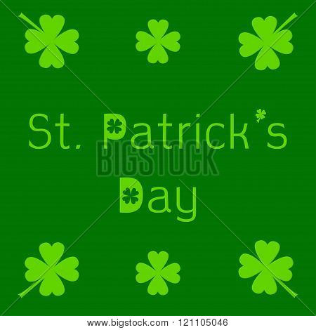 St. Patricks Day Card With Clover Leaf.
