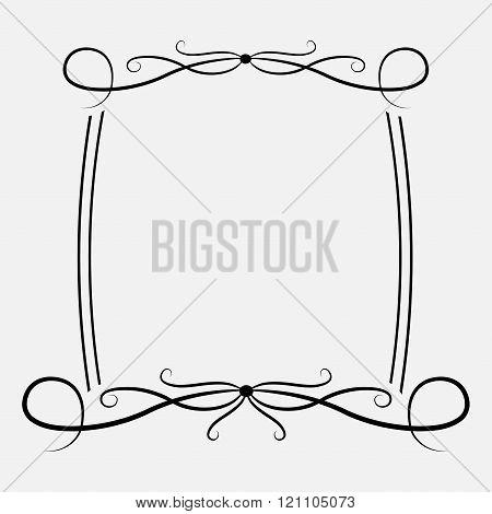 Calligraphic Rectangular Frame. Abstract Design Element .
