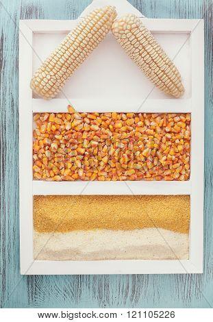 Cornflour and corn kernels