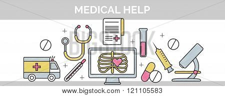 Thin black line scribble header banner illustration for the structure and sequence of medical help.