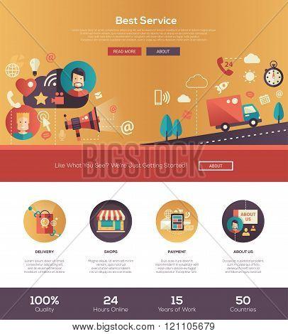 Flat design best service website header banner with webdesign elements