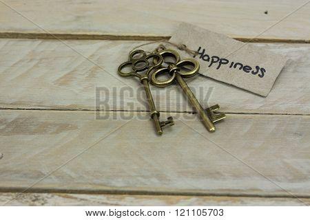 Antique keys on a wooden background