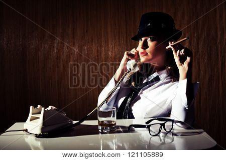 Retro styled businesswoman