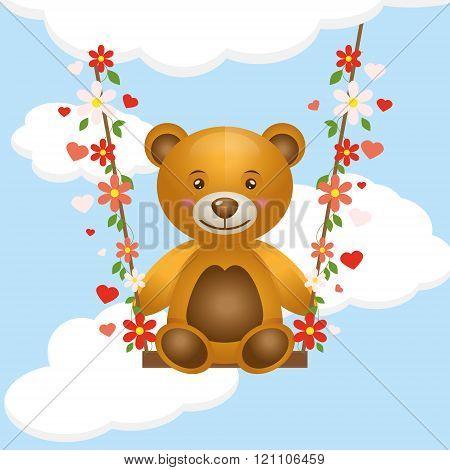 Toy Bear Cub On A Swing