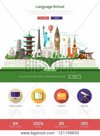 Flat design language school website header banner with webdesign elements