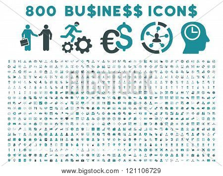 800 Flat Glyph Business Icon Collection