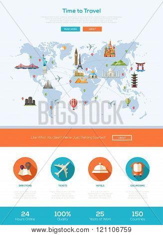 Flat design travel website header banner with webdesign elements
