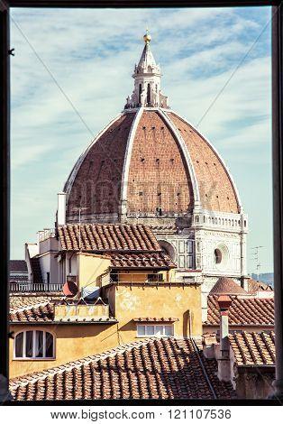 Cattedrale Di Santa Maria Del Fiore - Duomo Behind The Window, Florence, Retro Photo Filter