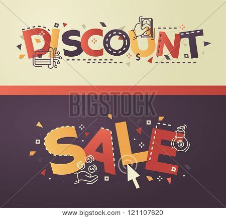 Modern flat design Discount, Sale lettering with business line icons