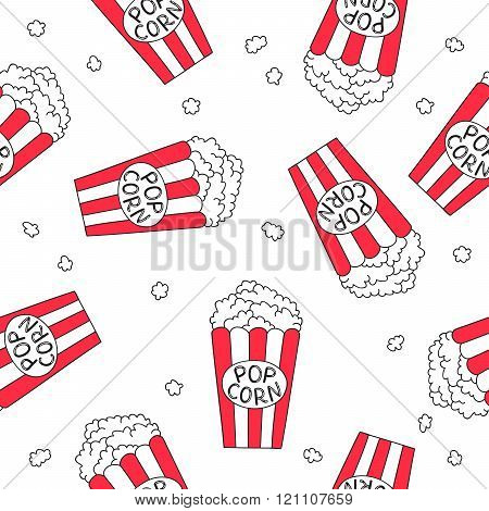 Seamless Vector Pattern Of Striped Bucket Of Popcorn