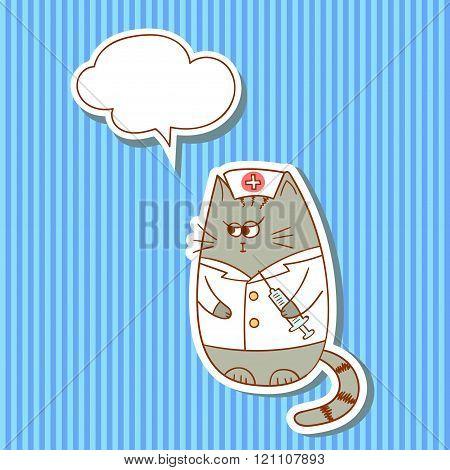 Cartoon nurse cat with speech bubble