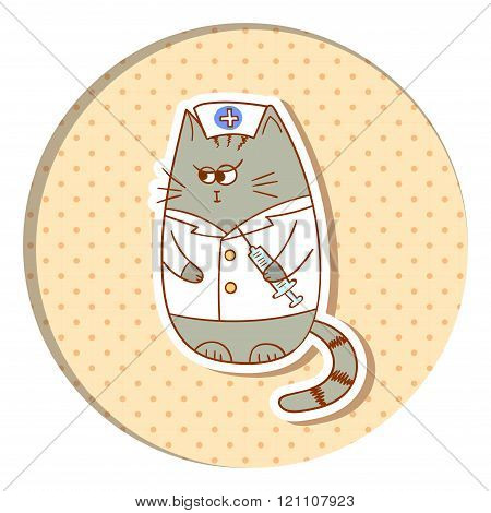Funny cat nurse on dots background.