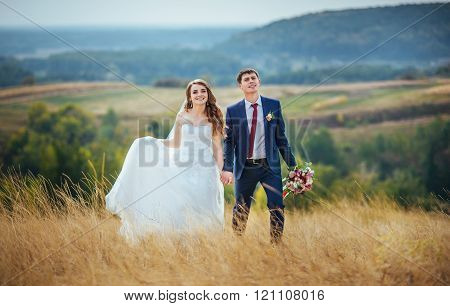 Wedding walk on nature