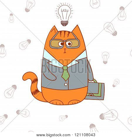 Cartoon character of manager cat.