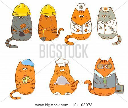 Set of cartoon cat characters. Collection of occupations